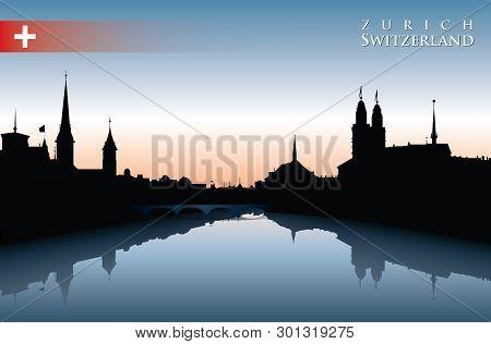 Zurich Skyline - Vector Background - Vector