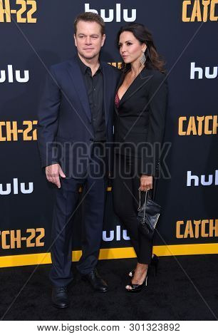 LOS ANGELES - MAY 07:  Matt Damon and Luciana Barroso arrives for the Hulu's 'Catch-22' US. Premiere on May 07, 2019 in Hollywood, CA