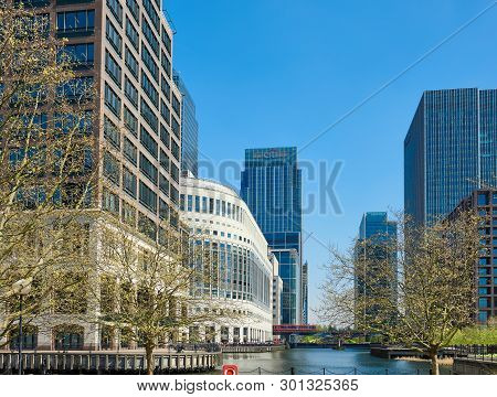 London, England - May 5, 2013: Canary Wharf In Spring. Canary Wharf Is A Financial District Situated