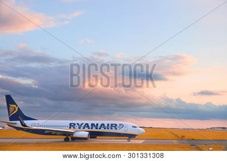 London, England - August 31, 2017: Ryanair Flight Is Getting Ready For Take-off. Ryanair Will Cancel