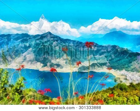 Digital Painting. Watercolor Drawing. Mountain Landscape, Himalayas, Tibet. Watercolor Landscape Wit