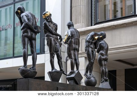 Leipzig, Germany - October 2018: Bronze Sculptures Titled Untimely Contemporaries By Bernd Goebel In