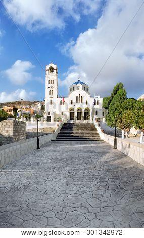 The Church Of Emporio On The Island Of Santorini In Greece