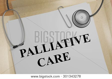 3d Illustration Of Palliative Care Title On A Medical Document