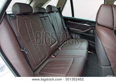 Brown Leather Rear Seat In The Passenger Car