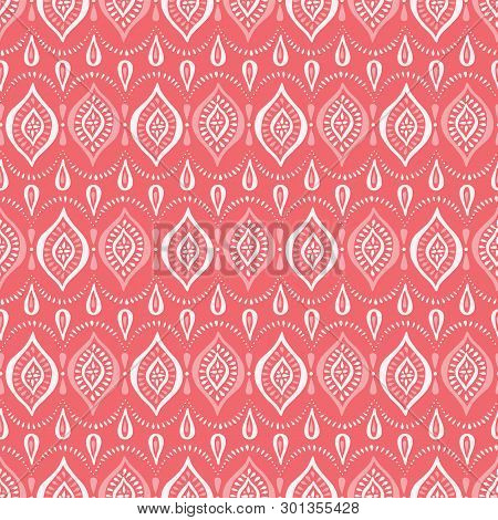 Monochrome Coral Lace Pattern With Diamonds And Dots. Classic Elegant Vector Seamless Background Per