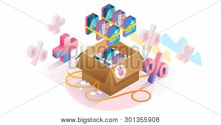 Bundles Isometric Concept Vector Illustration. Products Compilations And Collection Sets Marketing.