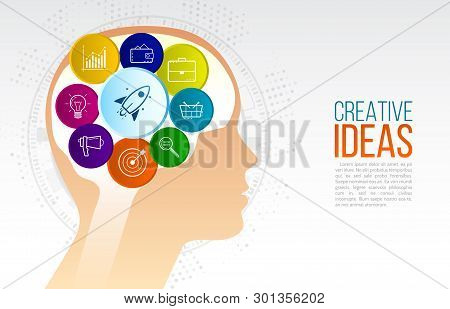 Creative Inspiration Original Idea. Innovation Concept And New Idea With Head And Icons Of Briefcase