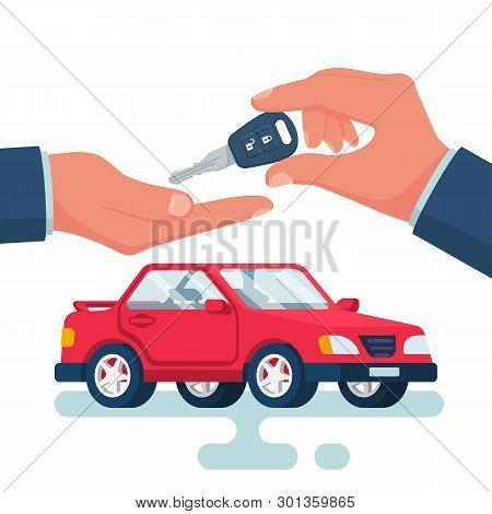 Key Car In Hand Cartoon Style. Give, Take Car Key. Buy Rent Vehicle. Vector Illustration Flat Design