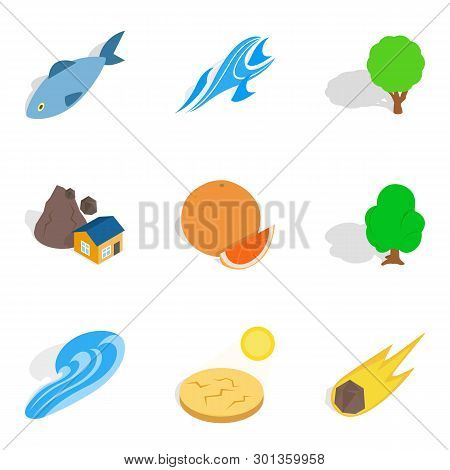 Onshore Icons Set. Isometric Set Of 9 Onshore Icons For Web Isolated On White Background