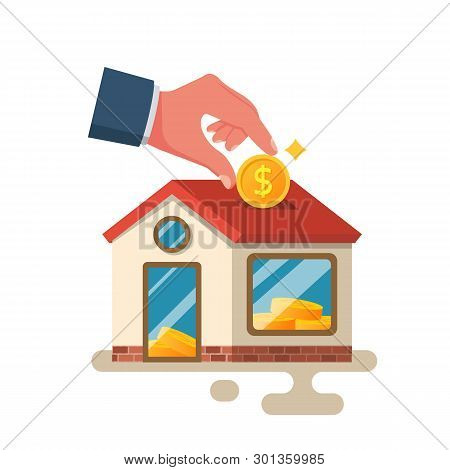 Man Invests Money In The House. Home Is Like A Piggy Bank. Vector Illustration Flat Design. Isolated