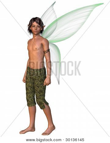 Fairy Boy with green gossamer wings, 3d digitally rendered illustration poster