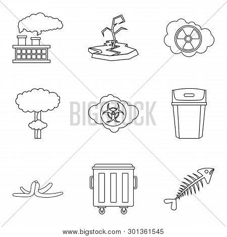 Ecological Catastrophe Icons Set. Outline Set Of 9 Ecological Catastrophe Icons For Web Isolated On
