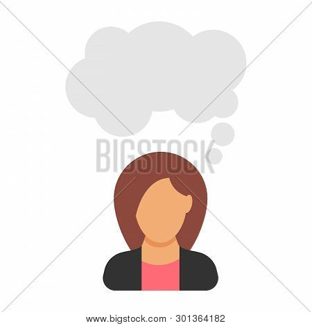 Monologue. Businesswoman Says.woman In Business Suit With Speech Bubble. People Icon In Flat Style.