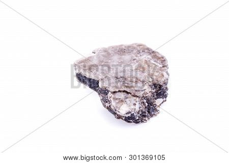 Macro Mineral Stone Heulandite On A White Background