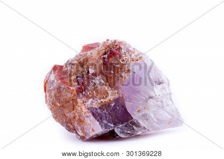 Stone Macro Mineral Quartz Red On A White Background