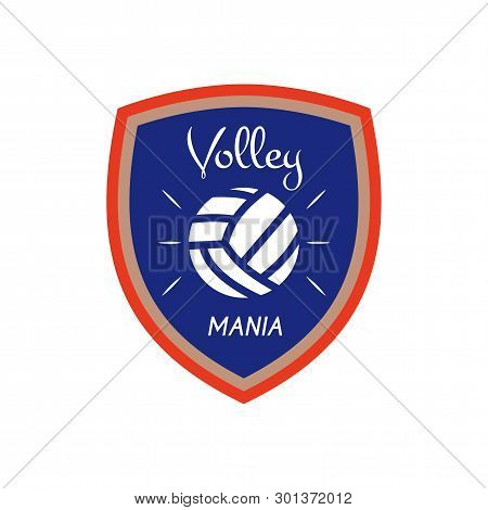 Volleyball Logo Template, Badge. Volley Mania With Ball. Colorful Label Design For Sports Events Or