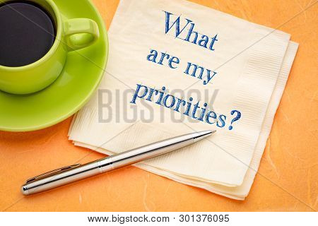 What are my priorities? A handwritten question on a napkin with a cup of coffee