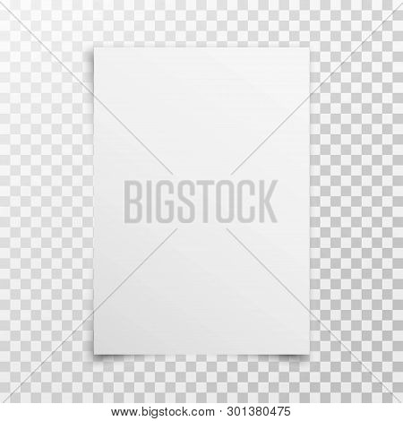 White Realistic Blank Paper Page With Shadow Isolated On Transparent Background. A4 Size Sheet Paper