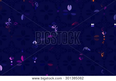 Stylized Seamless Floral Background Pattern. Abstract Blue Flowers, Roses, Branches With Leaves On D