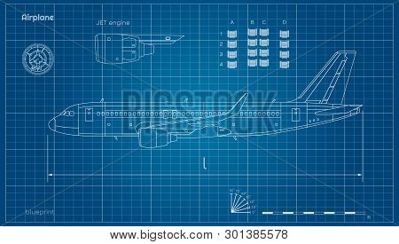 Aircraft In Outline Style. Blueprint Of Civil Plane. Side View Of Airplane. Industrial Drawing. Jet