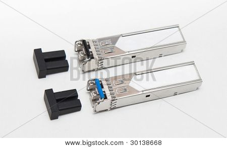 Optical Gigabit Sfp Modules For Network Switch On The Whie Background