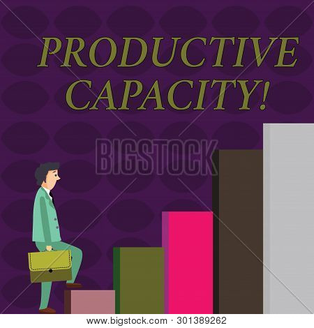 Text sign showing Productive Capacity. Conceptual photo the maximum possible output of a production plant Businessman Carrying a Briefcase is in Pensive Expression while Climbing Up. poster