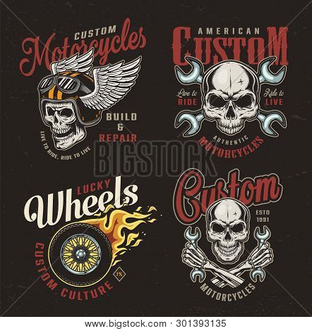 Vintage Motorcycle Colorful Emblems With Motorcyclist Skulls Crossed Wrenches Fiery Motorbike Wheel
