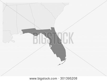 Map Of Usa With Highlighted Florida Map, Gray Map Of Us State Florida With Neighboring Countries