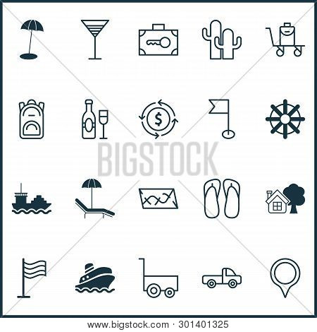 Travel Icons Set With Currency Exchange, Pinpoint, Backpack And Other Security Baggage Elements. Iso