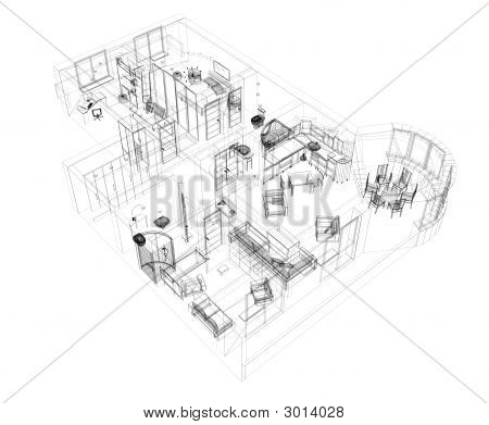 3d sketch of a four-room apartment. Object over white poster