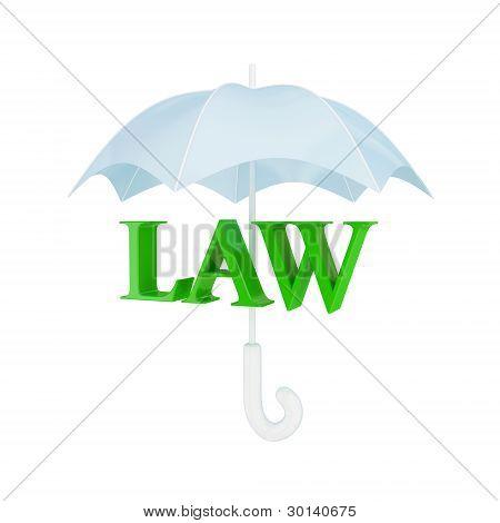 Word LAW under umbrella.