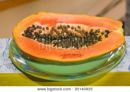 Sliced Of Half Papaya