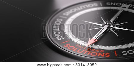 3d Illustration Of A Compass Over Black Background With The Text Tailored Solutions Written In Red.