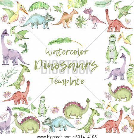 Square Banner From Cartoon Watercolor Dinosaurs. Cute Hand Drawn Funny Illustration Of Dinosaurs Qua