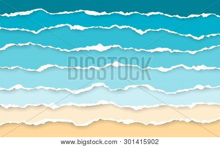 Blue Sea And Beach Summer Background. Torn Paper Stripes. Ripped Squared Horizontal Paper Strips. To