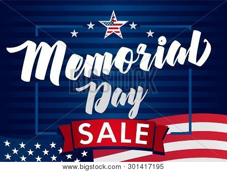 Memorial Day Sale Banner. Remember And Honor. Vector Illustration Hand Drawn Text Lettering With Sta