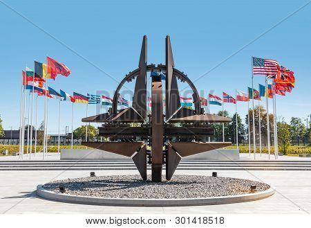 Brussels, Belgium - May 13, 2019: Nato Star Sculpture In Brussels. Nato Headquarters - Political And