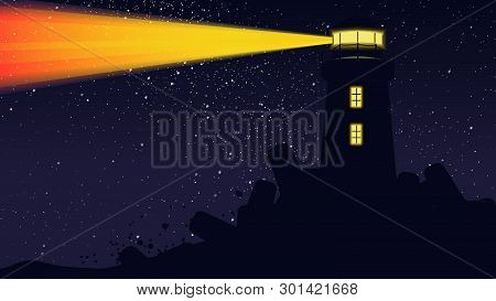 Lighthouse Light Operating At Night With Billion Stars On The Sky