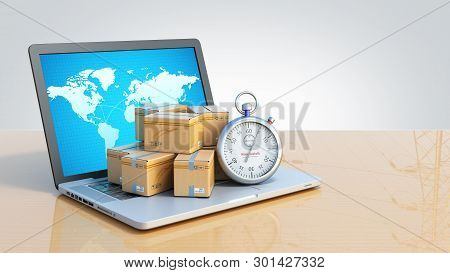 Box And Stopwatch Standing On A Laptop Concept Of Delivery 3d Render On Grey Gradient  Background