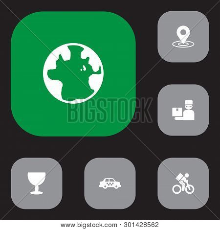 Set Of 6 Cargo Icons Set. Collection Of Taxi, Bicycle, Pinpoint And Other Elements.