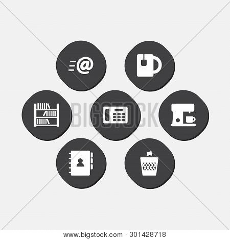 Set Of 7 Workspace Icons Set. Collection Of Tea, Coffee Maker, Address And Other Elements.