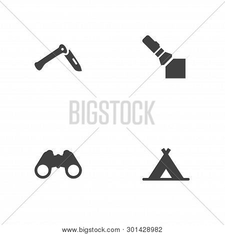 Set Of 4 Adventure Icons Set. Collection Of Shelter, Pocket Torch, Penknife And Other Elements.