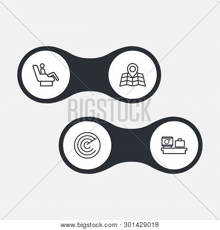 Set Of 4 Airplane Icons Line Style Set. Collection Of Vip, Radar, Location And Other Elements.
