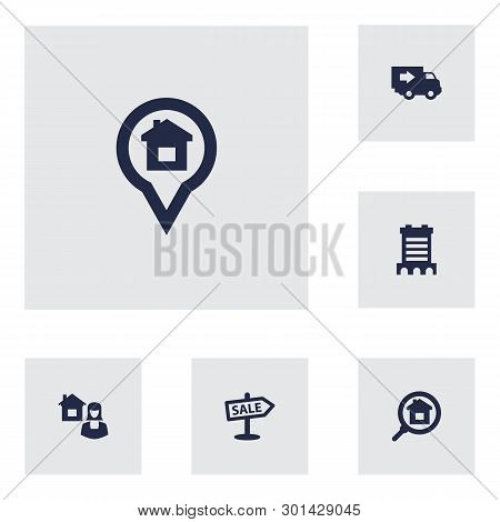 Set Of 6 Property Icons Set. Collection Of Search, Broker, Location And Other Elements.