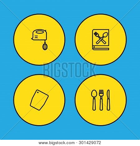 Set Of 4 Cooking Icons Line Style Set. Collection Of Cooking Instruction, Cutting Surface, Silverwar