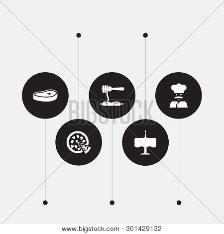 Set Of 5 Bar Icons Set. Collection Of Steak, Spaghetti, Chef And Other Elements.