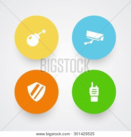 Set Of 4 Procuring Icons Set. Collection Of Shield, Security, Ratio And Other Elements.