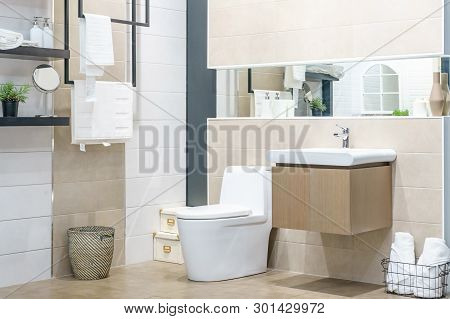 White Urinal And Washbasin And Shower In Granite Bathroom, Modern House Bathroom Interior, Luxury Ba
