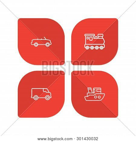 Set Of 4 Shipping Icons Line Style Set. Collection Of Wagon, Boat, Coupe And Other Elements.
